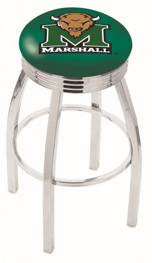 "Marshall Thundering Herd (L8C3C) 30"" Tall Logo Bar Stool by Holland Bar Stool Company (with Single Ring Swivel Chrome Solid Welded Base)"