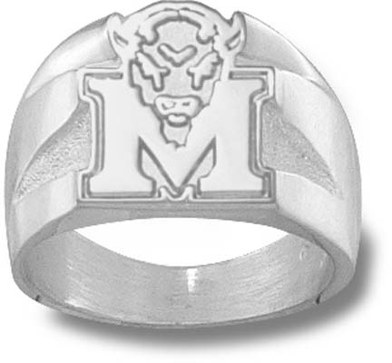 "Marshall Thundering Herd ""M Marco"" 5/8"" Men's Ring Size 10 1/2 - Sterling Silver Jewelry"