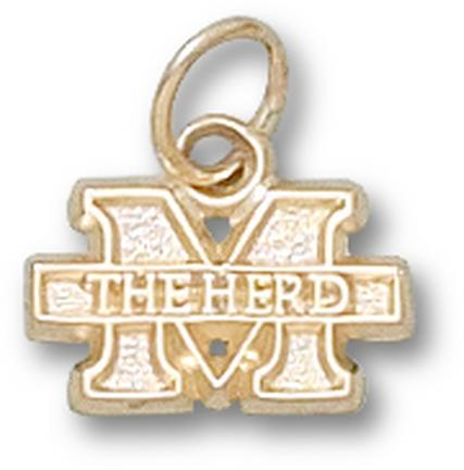 "Marshall Thundering Herd ""M The Herd"" 1/4"" Charm - 14KT Gold Jewelry"