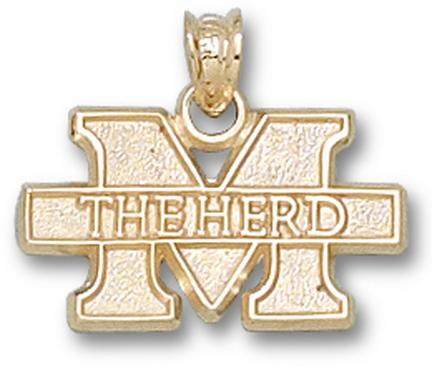 "Marshall Thundering Herd New ""M The Herd"" 7/16"" Pendant - 10KT Gold Jewelry"