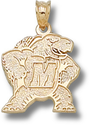 "Maryland Terrapins 5/8"" ""M Terrapin"" Pendant - 10KT Gold Jewelry"