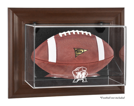 Maryland Terrapins Brown Framed Wall Mountable Logo Football Display Case