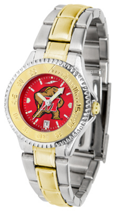 Maryland Terrapins Competitor AnoChrome Ladies Watch with Two-Tone Band
