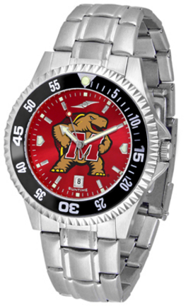Maryland Terrapins Competitor AnoChrome Men's Watch with Steel Band and Colored Bezel
