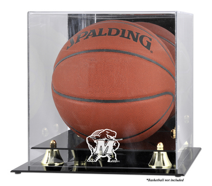 Maryland Terrapins Golden Classic Logo Basketball Display Case with Mirror Back
