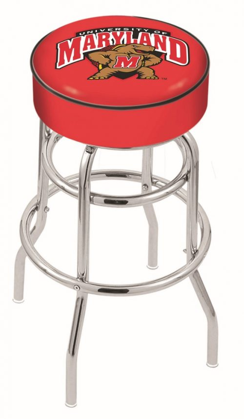 "Maryland Terrapins (L7C1) 25"" Tall Logo Bar Stool by Holland Bar Stool Company (with Double Ring Swivel Chrome Base)"