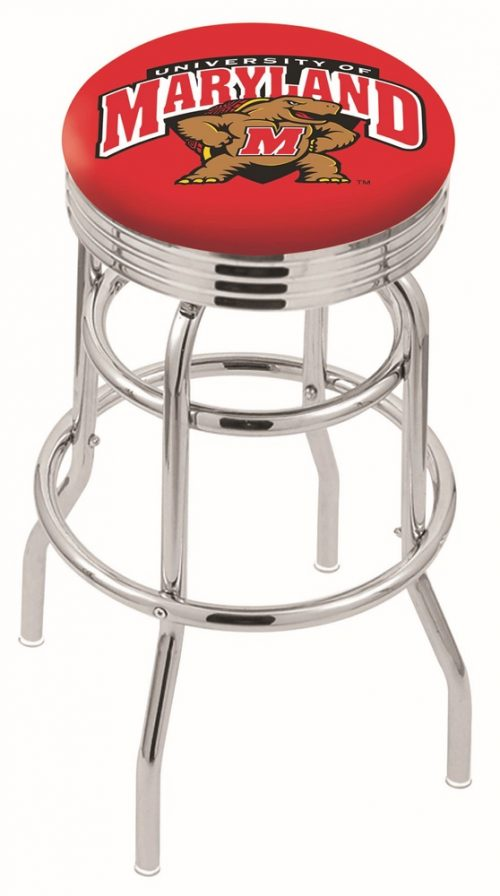 "Maryland Terrapins (L7C3C) 25"" Tall Logo Bar Stool by Holland Bar Stool Company (with Double Ring Swivel Chrome Base)"
