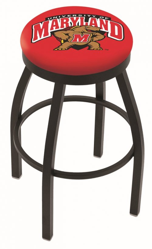 "Maryland Terrapins (L8B2B) 30"" Tall Logo Bar Stool by Holland Bar Stool Company (with Single Ring Swivel Black Solid Welded Base)"