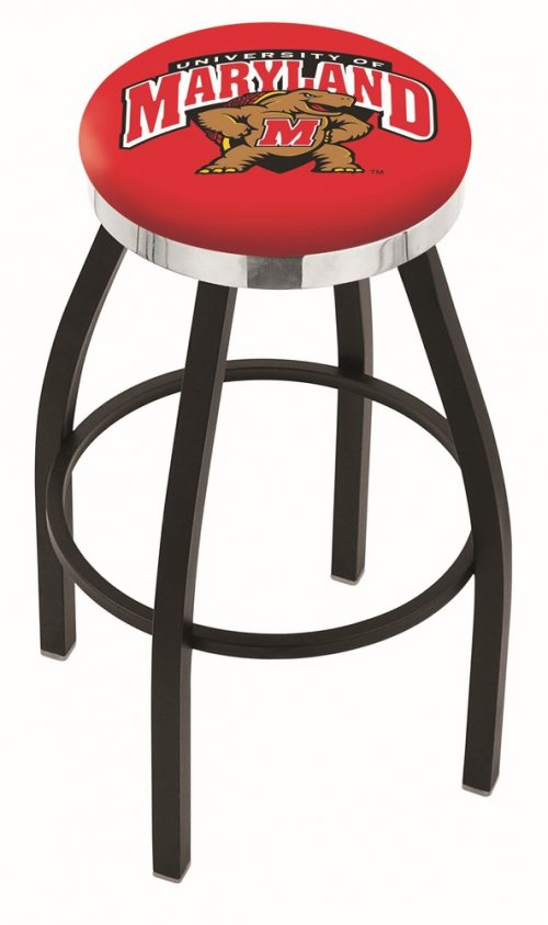 "Maryland Terrapins (L8B2C) 25"" Tall Logo Bar Stool by Holland Bar Stool Company (with Single Ring Swivel Black Solid Welded Base)"