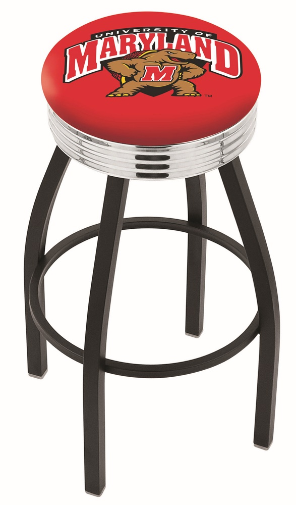 "Maryland Terrapins (L8B3C) 25"" Tall Logo Bar Stool by Holland Bar Stool Company (with Single Ring Swivel Black Solid Welded Base)"