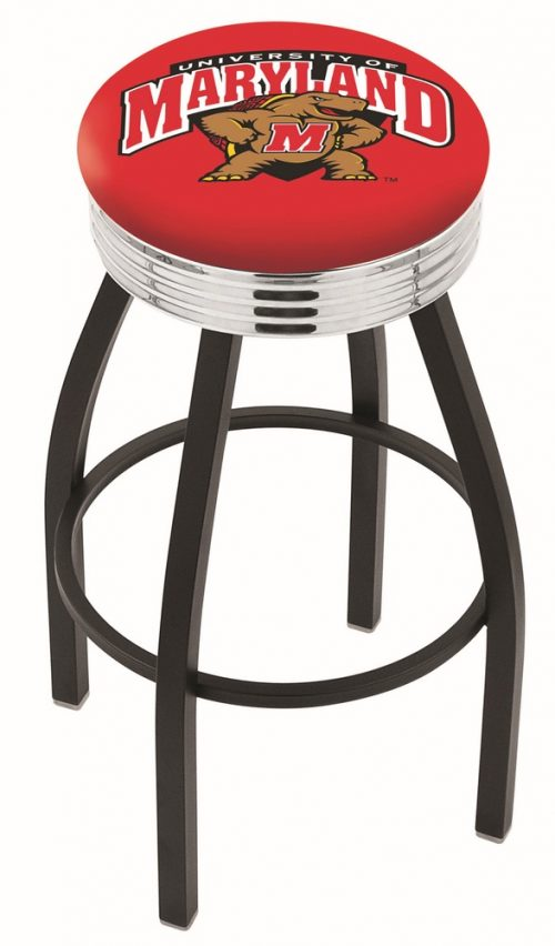"Maryland Terrapins (L8B3C) 30"" Tall Logo Bar Stool by Holland Bar Stool Company (with Single Ring Swivel Black Solid Welded Base)"