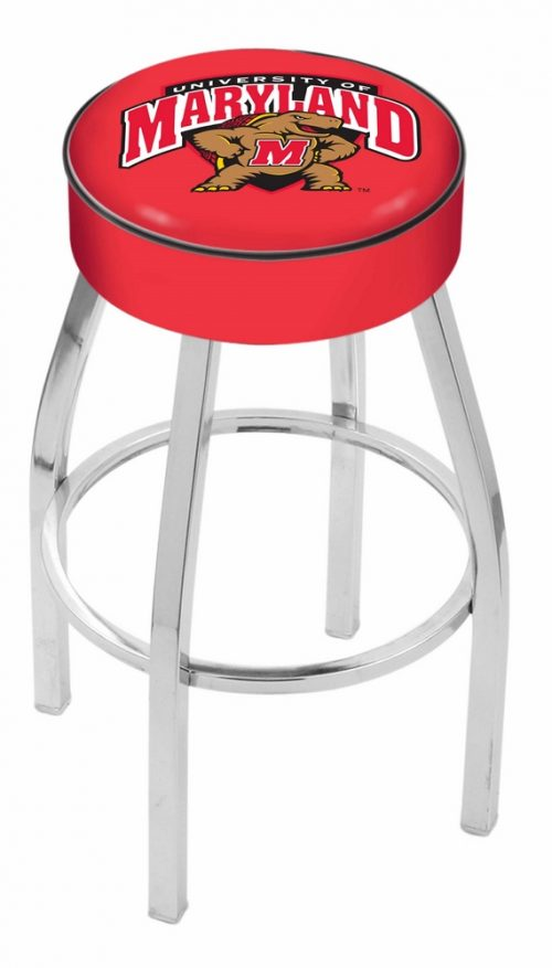 "Maryland Terrapins (L8C1) 25"" Tall Logo Bar Stool by Holland Bar Stool Company (with Single Ring Swivel Chrome Solid Welded Base)"