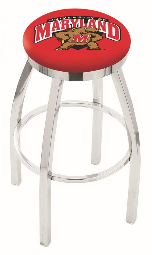 "Maryland Terrapins (L8C2C) 25"" Tall Logo Bar Stool by Holland Bar Stool Company (with Single Ring Swivel Chrome Solid Welded Base)"