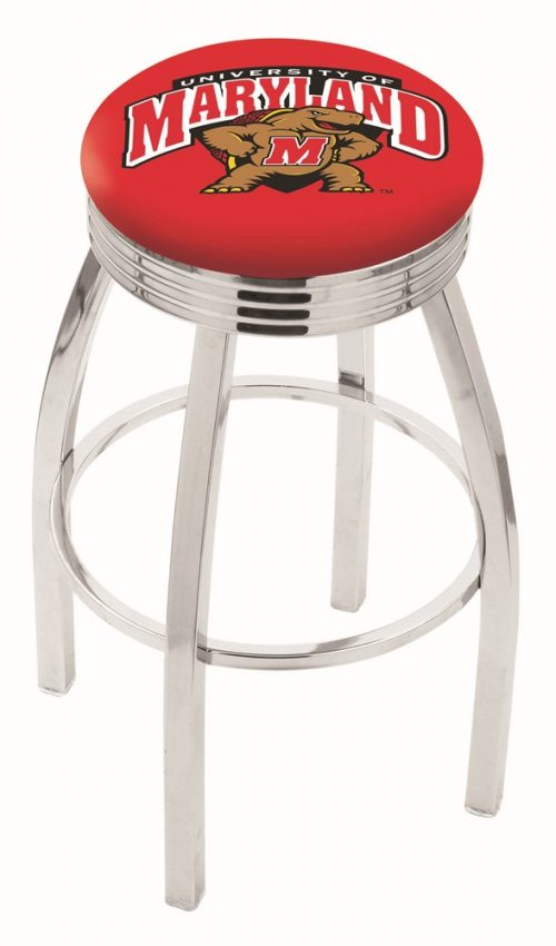 "Maryland Terrapins (L8C3C) 25"" Tall Logo Bar Stool by Holland Bar Stool Company (with Single Ring Swivel Chrome Solid Welded Base)"