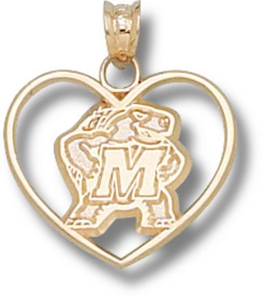 "Maryland Terrapins ""Terrapin Heart"" Pendant - 10KT Gold Jewelry"
