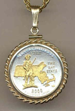 "Massachusetts Two Tone Rope Bezel Statehood Quarter with 18"" Rope Necklace"