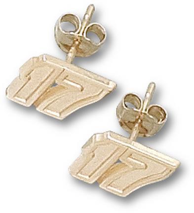 "Matt Kenseth 1/4"" Very Small #17 Post Earrings - 10KT Gold Jewelry"