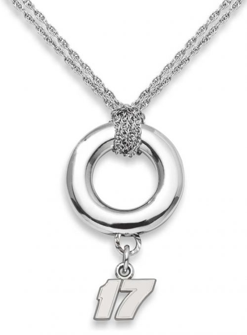 "Matt Kenseth #17 3/8"" Logo Sterling Silver Halo Necklace"