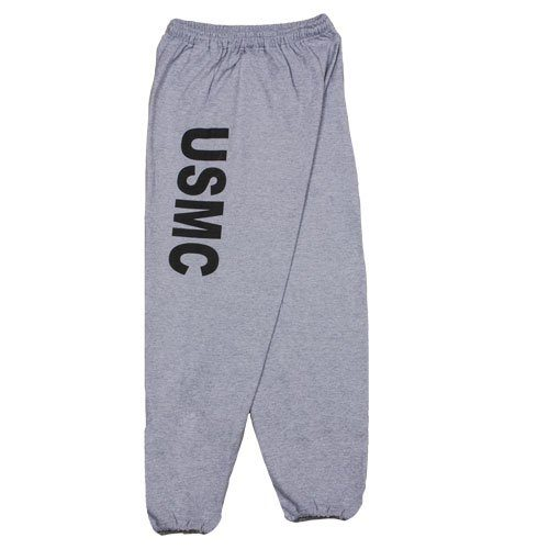 Mens United State Marines Corps One Sided imprint Sweatpant Heather Grey - Medium