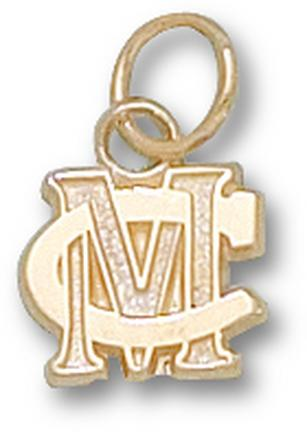 "Methodist College Monarchs ""MC"" 5/16"" Charm - 14KT Gold Jewelry"