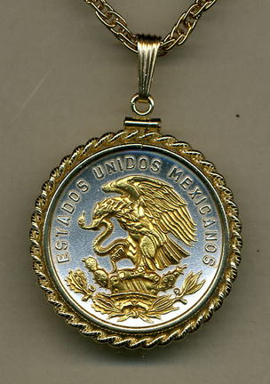"""Mexican 20 Centavo """"Eagle"""" Two Tone Gold Filled Rope Bezel Coin Pendant with 24"""" Chain"""