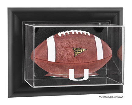 Miami Hurricanes Black Framed Wall Mountable Logo Football Display Case