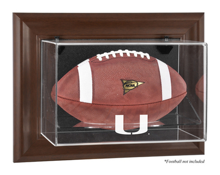 Miami Hurricanes Brown Framed Wall Mountable Logo Football Display Case