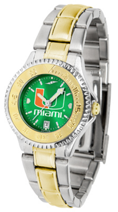 Miami Hurricanes Competitor AnoChrome Ladies Watch with Two-Tone Band