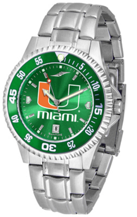 Miami Hurricanes Competitor AnoChrome Men's Watch with Steel Band and Colored Bezel
