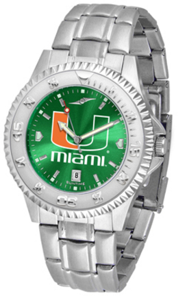 Miami Hurricanes Competitor AnoChrome Men's Watch with Steel Band