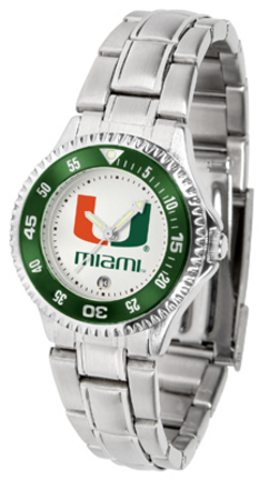 Miami Hurricanes Competitor Ladies Watch with Steel Band