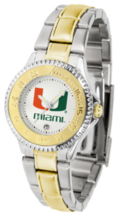 Miami Hurricanes Competitor Ladies Watch with Two-Tone Band
