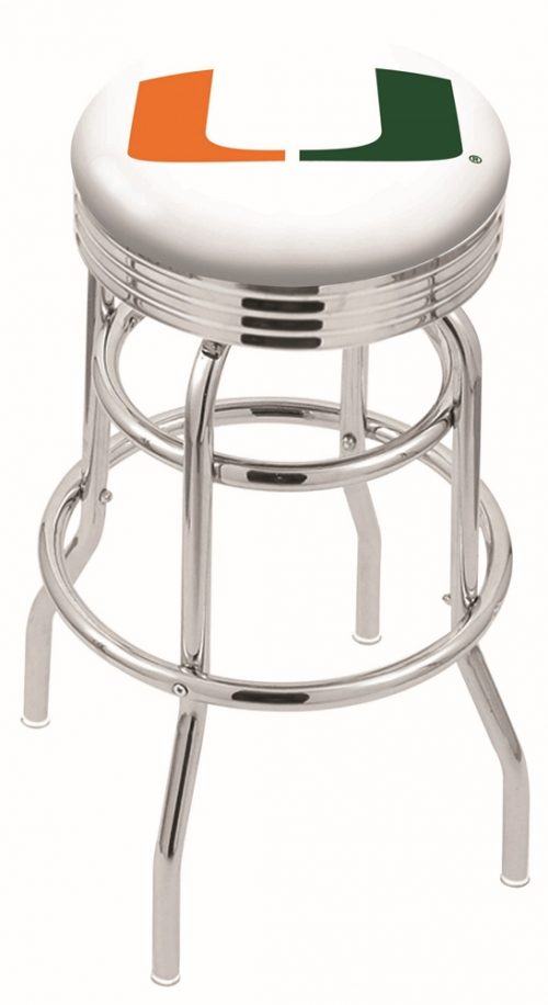 "Miami Hurricanes (L7C3C) 25"" Tall Logo Bar Stool by Holland Bar Stool Company (with Double Ring Swivel Chrome Base)"