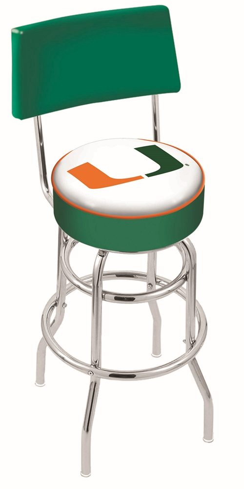 "Miami Hurricanes (L7C4) 25"" Tall Logo Bar Stool by Holland Bar Stool Company (with Double Ring Swivel Chrome Base and Chair Seat Back)"