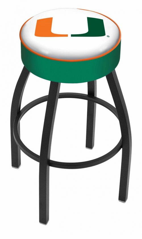 "Miami Hurricanes (L8B1) 30"" Tall Logo Bar Stool by Holland Bar Stool Company (with Single Ring Swivel Black Solid Welded Base)"