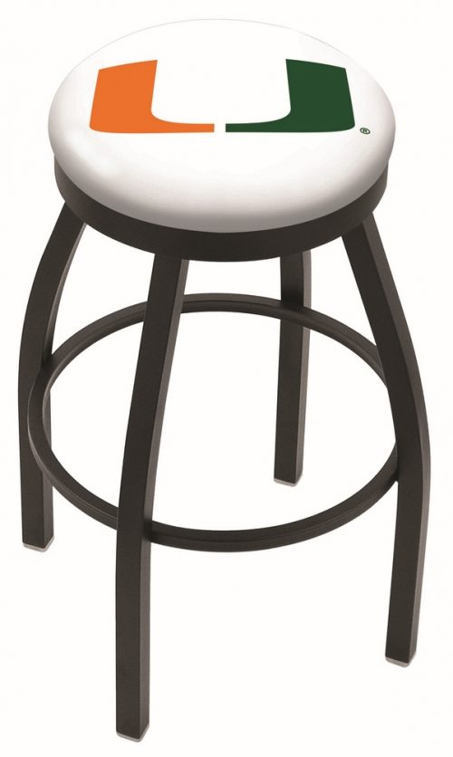 "Miami Hurricanes (L8B2B) 30"" Tall Logo Bar Stool by Holland Bar Stool Company (with Single Ring Swivel Black Solid Welded Base)"