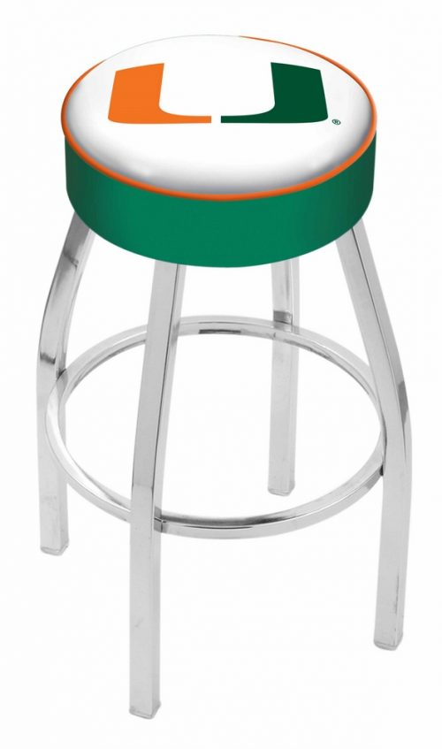 """Miami Hurricanes (L8C1) 30"""" Tall Logo Bar Stool by Holland Bar Stool Company (with Single Ring Swivel Chrome Solid Welded Base)"""