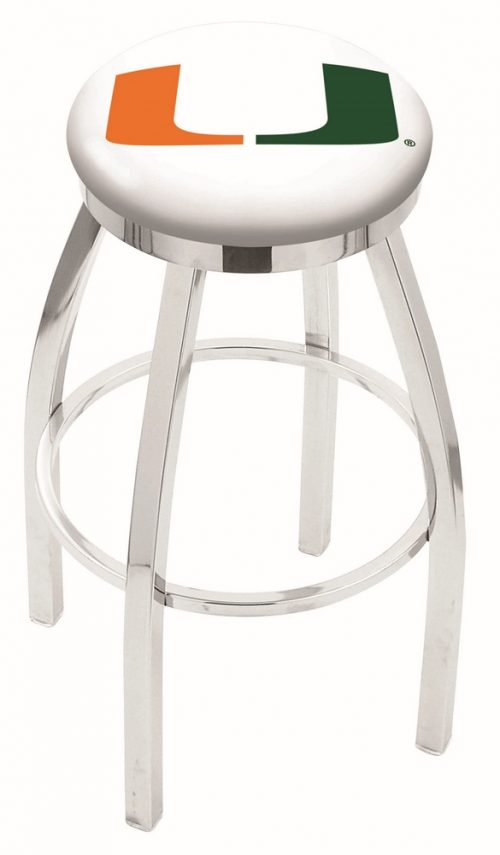 "Miami Hurricanes (L8C2C) 30"" Tall Logo Bar Stool by Holland Bar Stool Company (with Single Ring Swivel Chrome Solid Welded Base)"
