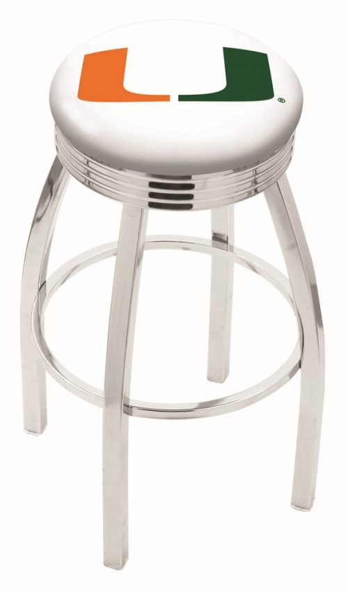 "Miami Hurricanes (L8C3C) 25"" Tall Logo Bar Stool by Holland Bar Stool Company (with Single Ring Swivel Chrome Solid Welded Base)"