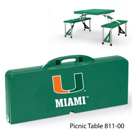 Miami Hurricanes Portable Folding Table and Seats