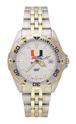 "Miami Hurricanes ""U with Miami"" All Star Watch with Stainless Steel Band - Men's"