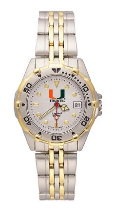 "Miami Hurricanes ""U with Miami"" All Star Watch with Stainless Steel Band - Women's"