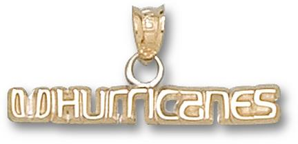 "Miami Hurricanes ""UHurricanes"" 1/8"" Pendant - 14KT Gold Jewelry"