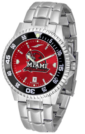 Miami (Ohio) RedHawks Competitor AnoChrome Men's Watch with Steel Band and Colored Bezel