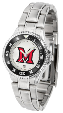 Miami (Ohio) RedHawks Competitor Ladies Watch with Steel Band