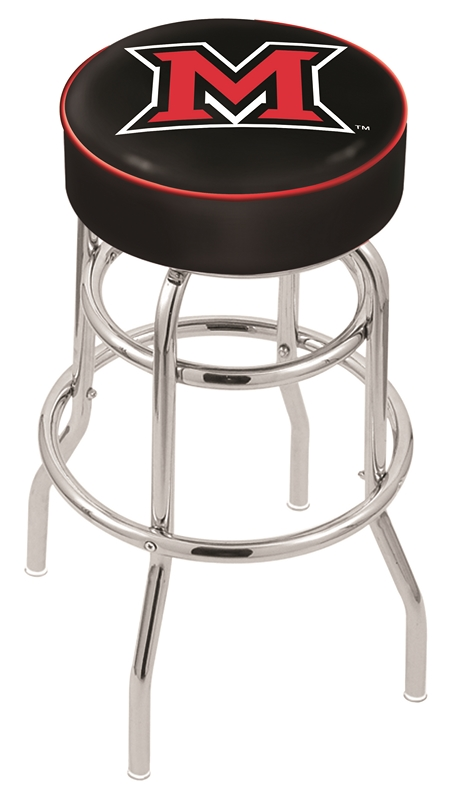 "Miami (Ohio) RedHawks (L7C1) 30"" Tall Logo Bar Stool by Holland Bar Stool Company (with Double Ring Swivel Chrome Base)"