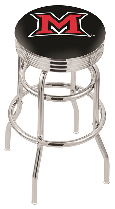 "Miami (Ohio) RedHawks (L7C3C) 30"" Tall Logo Bar Stool by Holland Bar Stool Company (with Double Ring Swivel Chrome Base)"