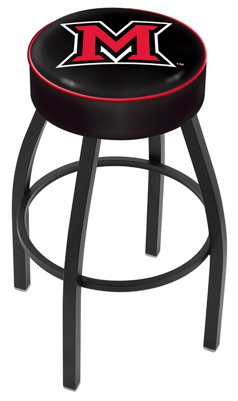"Miami (Ohio) RedHawks (L8B1) 30"" Tall Logo Bar Stool by Holland Bar Stool Company (with Single Ring Swivel Black Solid Welded Base)"
