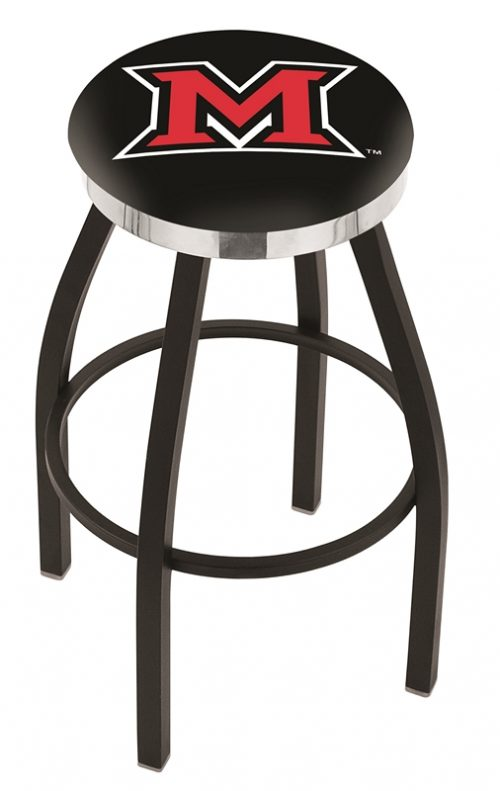 "Miami (Ohio) RedHawks (L8B2C) 30"" Tall Logo Bar Stool by Holland Bar Stool Company (with Single Ring Swivel Black Solid Welded Base)"
