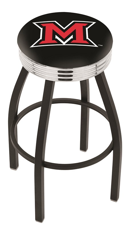 "Miami (Ohio) RedHawks (L8B3C) 25"" Tall Logo Bar Stool by Holland Bar Stool Company (with Single Ring Swivel Black Solid Welded Base)"